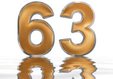 Numeral 63, sixty three, reflected on the water surface, isolate. Numeral 63, sixty three, reflected on the water surface,  on  white, 3d render Stock Images