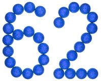 Numeral 62, sixty two, from decorative balls, isolated on white. Background Royalty Free Stock Photo