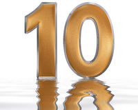 Numeral 10, ten, reflected on the water surface,  on  wh Royalty Free Stock Images