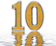 Numeral 10, ten, reflected on the water surface,  on whi Royalty Free Stock Photography