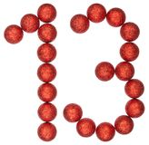Numeral 13, thirteen, from decorative balls, isolated on white b Stock Photography