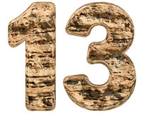 Numeral 13, thirteen, isolated on white, natural limestone, 3d i. Llustration Royalty Free Stock Photo