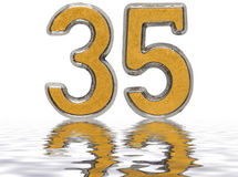Numeral 35, thirty five, reflected on the water surface, isolate Stock Photography
