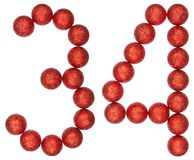 Numeral 34, thirty four, from decorative balls, isolated on whit Royalty Free Stock Photos