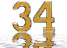 Numeral 34, thirty four, reflected on the water surface, isolate. D on white, 3d render vector illustration