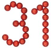 Numeral 31, thirty one, from decorative balls, isolated on white Stock Images