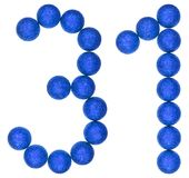 Numeral 31, thirty one, from decorative balls, isolated on white. Background royalty free stock photography