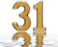 Numeral 31, thirty one, reflected on the water surface, isolated. On white, 3d render Stock Photos