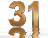 Numeral 31, thirty one, reflected on the water surface,. On  white, 3d render Stock Photo