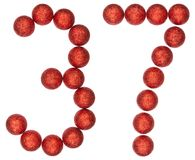 Numeral 37, thirty seven, from decorative balls, isolated on whi Stock Image