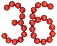 Numeral 36, thirty six, from decorative balls, isolated on white Stock Photos