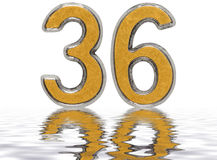 Numeral 36, thirty six, reflected on the water surface, isolated. On white, 3d render Stock Images