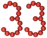 Numeral 33, thirty three, from decorative balls, isolated on whi Royalty Free Stock Images