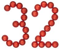 Numeral 32, thirty two, from decorative balls, isolated on white Royalty Free Stock Photos