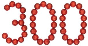 Numeral 300, three hundred, from decorative balls, isolated on w. Hite background Royalty Free Stock Photo