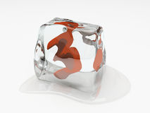 Numeral three in ice cube. 3D rendering Stock Photos