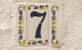 Numeral 7 of traditional ceramic tiles Stock Image
