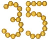 Numeral 35, trinta e cinco, das bolas decorativas, isoladas no whit Imagem de Stock