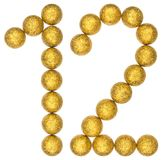 Numeral 12, twelve, from decorative balls, isolated on white bac Stock Photos