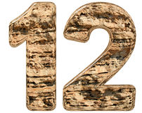 Numeral 12, twelve, isolated on white, natural limestone, 3d ill. Ustration Stock Images