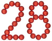 Numeral 28, twenty eight, from decorative balls, isolated on whi Stock Photography