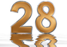 Numeral 28, twenty eight, reflected on the water surface, isolat Stock Photos