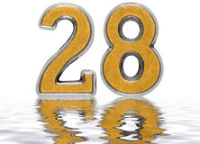 Numeral 28, twenty eight, reflected on the water surface, isolat. Numeral 28, twenty eight, reflected on the water surface,  on white, 3d render Royalty Free Stock Images