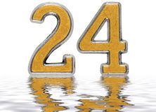 Numeral 24, twenty four, reflected on the water surface, isolate. D on white, 3d render Stock Image