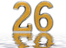 Numeral 26, twenty six, reflected on the water surface, isolated Stock Image