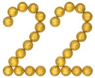 Numeral 22, twenty two, from decorative balls, isolated on white Royalty Free Stock Photo