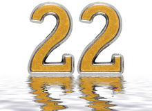 Numeral 22, twenty two, reflected on the water surface, isolated Stock Image