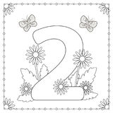 Numeral two with flowers, leaves and butterflies. Coloring page. Vector illustration Royalty Free Stock Photography