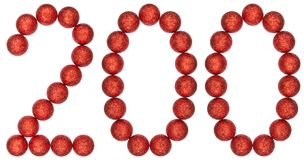 Numeral 200, two hundred, from decorative balls, isolated on whi. Te background Stock Image