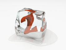 Numeral two in ice cube. 3D rendering royalty free illustration
