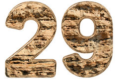 Numeral 29, vinte e nove, isolado na pedra calcária branca, natural, 3 Foto de Stock Royalty Free