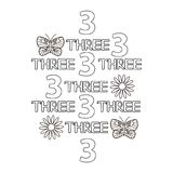 Numeral and word three, butterfly, flowers. Coloring page. Royalty Free Stock Images