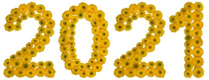 Numeral 2021 from yellow flowers of buttercup, isolated on white. Background Royalty Free Stock Photos