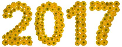 Numeral 2017 from yellow flowers of buttercup, isolated on white. Background Royalty Free Stock Photography