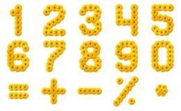 Numerals Alphabet of yellow flowers Stock Photo