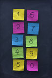 Numerals on colorful sticky notes and blackboard Royalty Free Stock Image