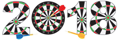 2018 Numerals with Dartboards and Darts vector Illustration. 2018 Happy New Year Dartboard with Darts on Hitting Target Bullseye Numerals Outline vector Royalty Free Stock Image