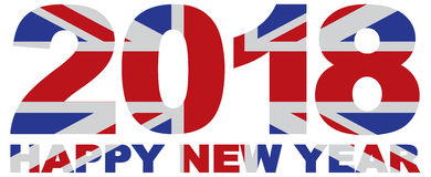 2018 Numerals with Union Jack Flag vector Illustration Stock Photo
