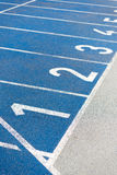 Numeration of running track on olympic stadium Royalty Free Stock Photos