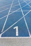 Numeration of running track on olympic stadium Stock Photography