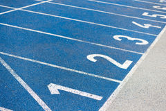 Numeration of running track on olympic stadium Stock Image