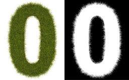 Numere 0 de la hierba con el canal alfa Fotografía de archivo