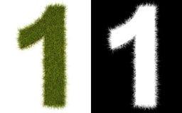 Numere 1 de la hierba con el canal alfa Fotografía de archivo