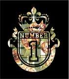 Numere 1 brasão com as rosas e o fundo da tartã Imagem de Stock