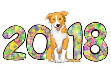 Numere 2018 de círculos brillantes multicolores coloridos del confeti y del símbolo astrológico dibujado del perro amarillo del a Fotos de archivo libres de regalías