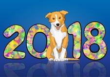 Numere 2018 de círculos brillantes multicolores coloridos del confeti y del símbolo astrológico dibujado del perro amarillo del a Imagen de archivo libre de regalías